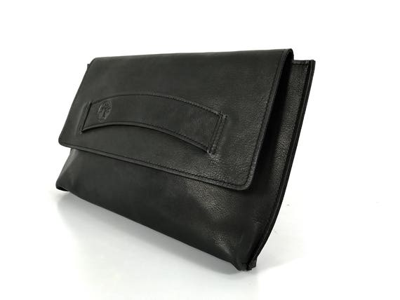 Clutch Purse Leather Wristlet Wallet Wrist Bag Detachable Strap Organizer Black