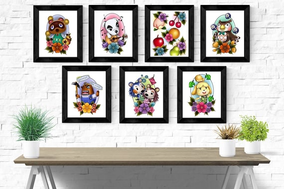 Animal Crossing Cute Tattoo Print Designs Any Combination A4 Etsy