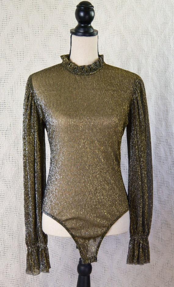 Vintage 1990s Sheer Gold Ruffle Edge Leotard