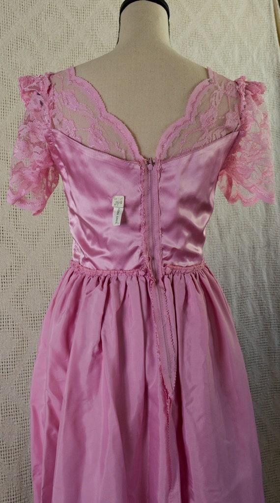 Vintage 1980's Pink Lace Formal Dress - image 6