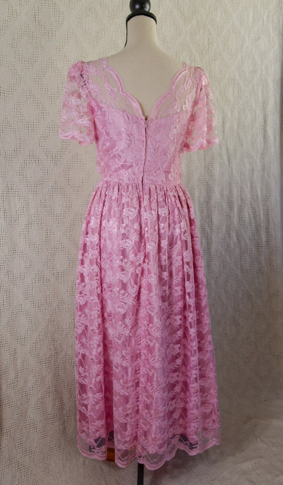 Vintage 1980's Pink Lace Formal Dress - image 3