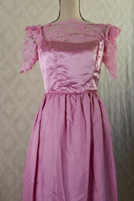Vintage 1980's Pink Lace Formal Dress - image 7