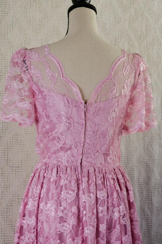 Vintage 1980's Pink Lace Formal Dress - image 4