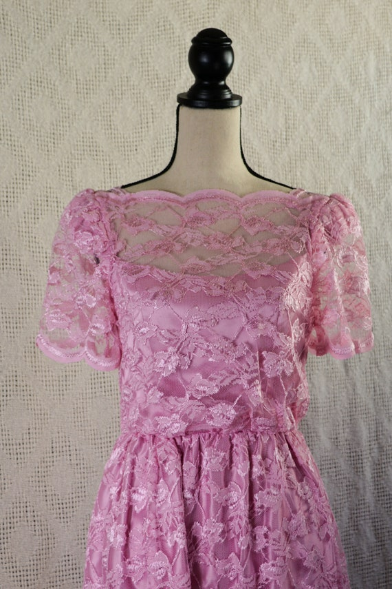 Vintage 1980's Pink Lace Formal Dress