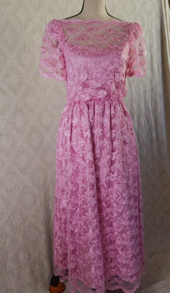 Vintage 1980's Pink Lace Formal Dress - image 2