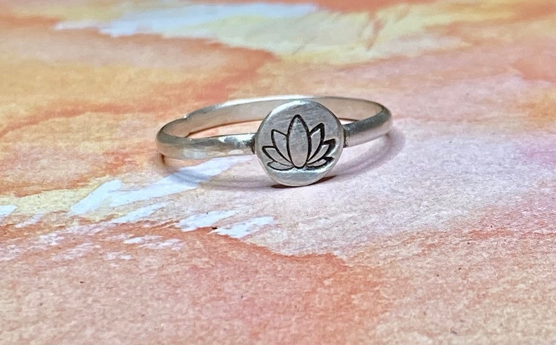 Lotus Ring Sterling Silver  Sterling Silver Lotus Flower Stacking Ring  OHM Yoga Ring Silver