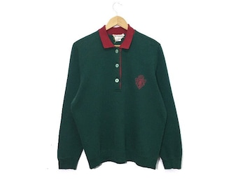 735366f3c13 Vintage gucci sweatshirt pullover jumper sweater embroidery big spellout  logo half button