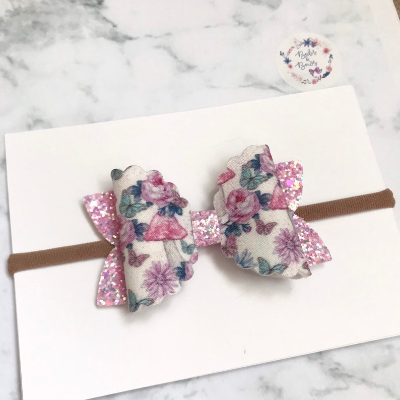 Pink Fairyland Scallop Fabric /& Glitter Bow Hair Accessory on either stretchy nylon headband or crocodile clip