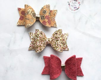 Spring Peach Floral Bow Set Hair Accessory (headbands or clips)
