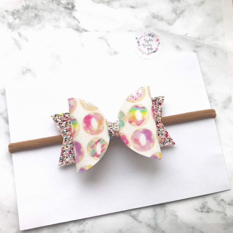 Pastel Rainbow Doughnut Fabric /& Glitter Bow Hair Accessory stretchy nylon headband or crocodile clip