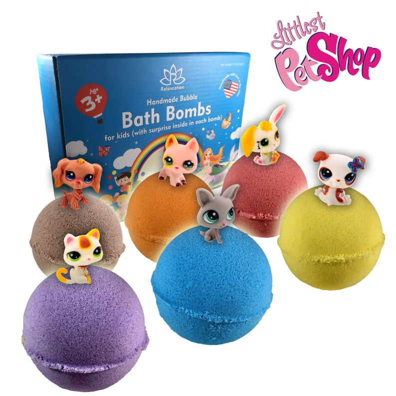 12a65f60e44a 6 Bath Bombs with PET SHOP Toys Inside for Kids – Natural & Safe Bombs with  Essential Oils – Great Gift Set for Boys and Girls – 6 x 5 oz