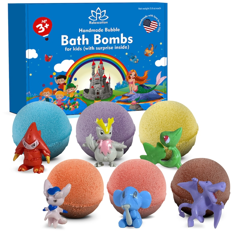 6 Bath Bombs For Kids with Pokemon Toys Inside Each Bomb image 0