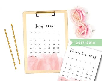 2018 Calendar, Printable 2018 Calendar, 2018 Calendar, Printable Watercolor Calendar 2017 - 2018, Printable Monthly Calendar