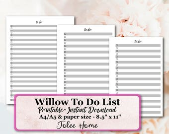 "A5 To Do List, A4 To Do List, To Do List, A5 Printable Inserts : A5, A4 and 8.5"" x 11"" Willow Printable To Do List Inserts"