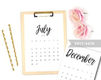 2018 Printable Calendar,  Printable 2018 Calendar, Printable Calendar,  Printable PDF Calender, Desk Calendar, 2017 - 2018 Calendar