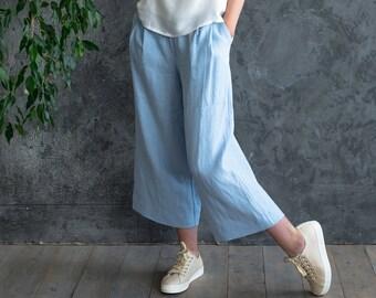 Woman pants, Linen trousers, linen pants, blue trousers, trousers, pants, loose pants, blue pants, linen clothes