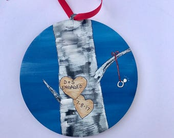 The engagement ornament - Personalized - Hand Painted - Ring - Birch Tree Carving - Save the Date - We're engaged - Engagement Gift Idea -