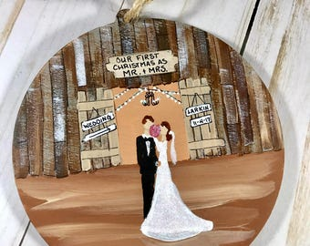 First Christmas Ornament Married - Wedding Ornaments - Our First Christmas - Newlywed Gift - Barn Wedding - Rustic - Shabby Chic - Gift