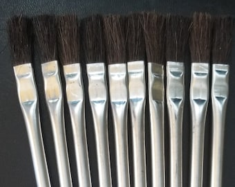 """Acid Brushes Horsehair 3/8"""" x 6"""" for Flux, Glue, Paint, DIY projects 10 pack"""