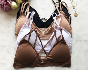 24d1744e2a8 Seamless Strappy Back Comfy Bralette with Removable Pads - many colors  active bralette lingerie
