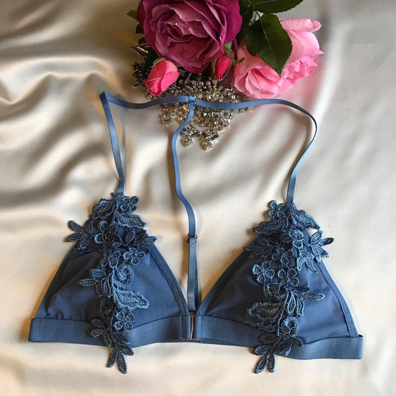 front closure bralette many colors Floral racerback lace bra Embroidered Floral Lace Overlayed Triangle Bralette