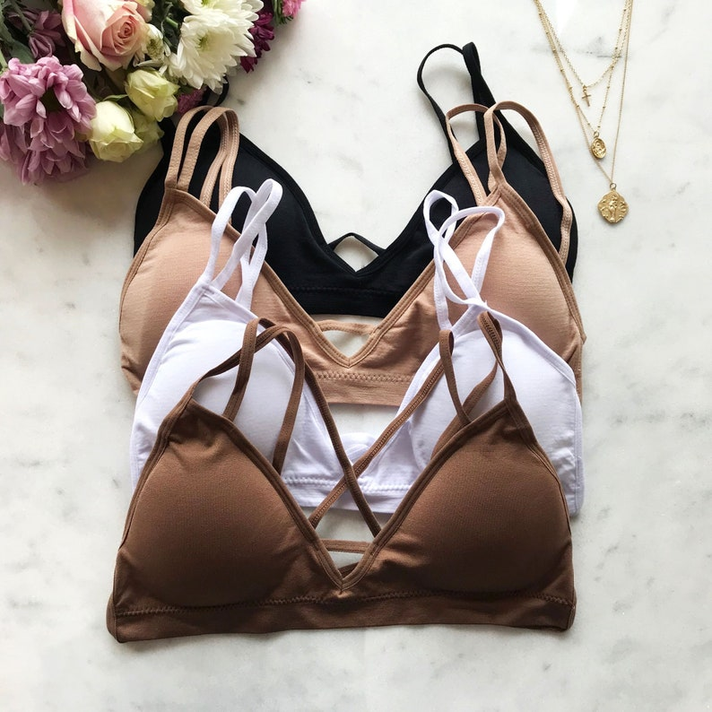 24ba5c8c42 Seamless Strappy Back Comfy Bralette with Removable Pads