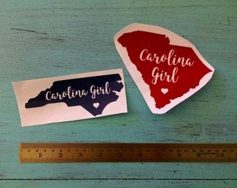 Custom Carolina Girl - State Outline Vinyl Decal