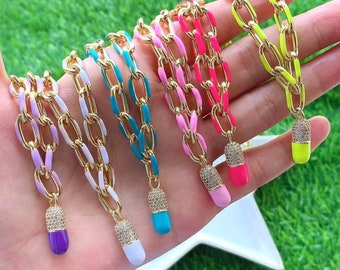 3/6pcs Capsule Chill Pill Enamel Charm Neon Pink Orange Turquoise Pendant Oil Dropped,Real Gold Plated Colour Necklace