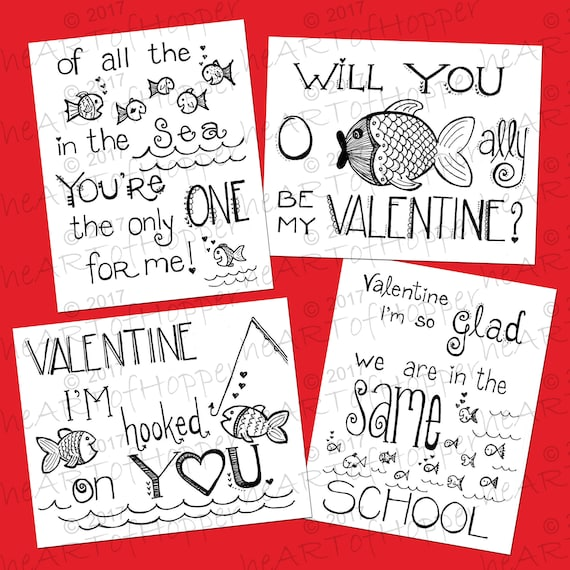 Set Of 4 Printable Valentine Day Coloring Cards Etsy