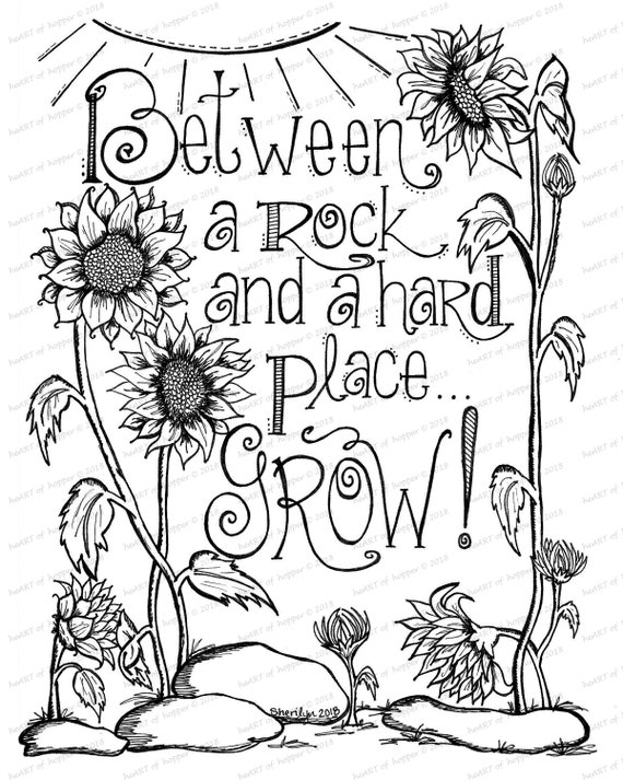Sunflower coloring page - Between a rock and a hard place, grow!