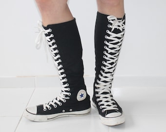 8da9099b7af28b Vintage 90s Converse Black White Lace Up Tie Up Trainers Sneakers All Star  Chuck Taylor Label Size UK 5 EU 37.5 US Mens 5 Womens 7 Goth Knee