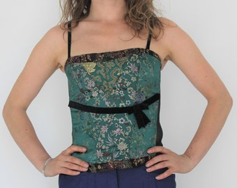 e82b615359 Asian style Corset Green Gold Prom Party Dress Bodice Lace up Sweetheart  Bust Victorian style Corset Goth Floral Bustier Laceup Bustier M