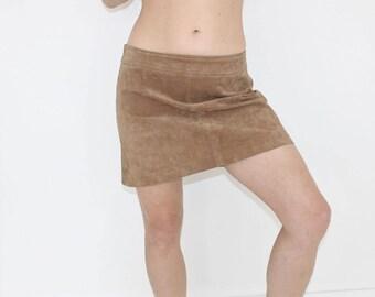 3a371f5694d76 Haute taille Vintage daim Mini jupe marron cuir jupe daim jupe taille Large  A ligne Sexy Midi jupe daim jupe crayon