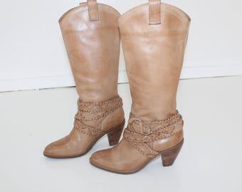 ECCO Leder Stiefel Cowboy Stiefel Braun Rockabilly Leder | Etsy