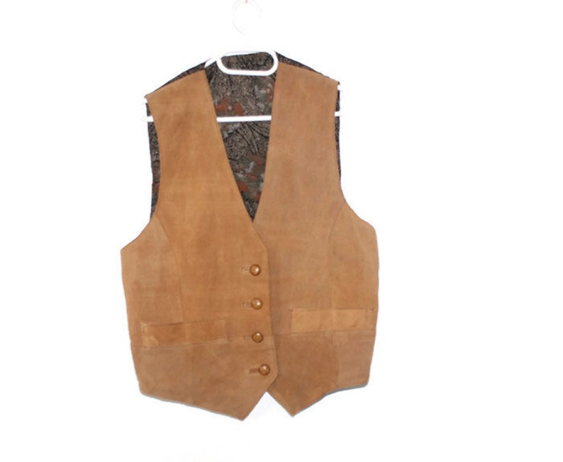 Vintage Suede Leather Vest Brown Jacket Size Large Retro Tailored Waist Coat Brown Suede Genuine Leather Vest Classic Formal Waistcoat L