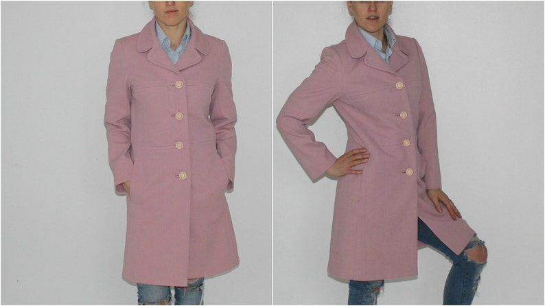 30cd329fe35b0 Spring Pink Coat Vintage Salmon Pink Coat Trench Coat 90s Straight Cut Coat  Pink Coat Knee Length Coat Pale Pink Coat English Lady Coat