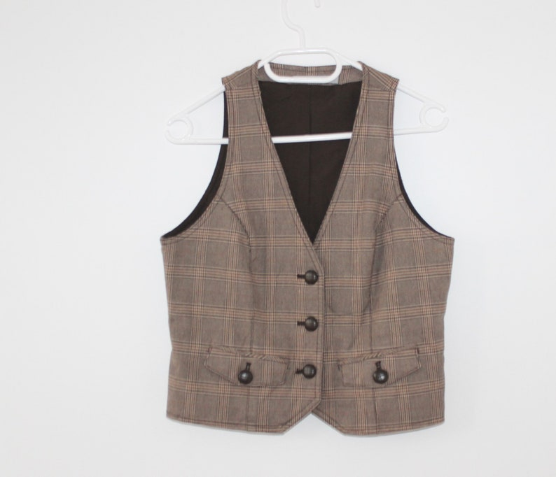 1d69a3b8dee4f Mall beige Brown Plaid Vest Women Romantic Fitted Formal Waistcoat  Steampunk Checkered Coat Womens Waistcoat Light vest Mall fitted Brown