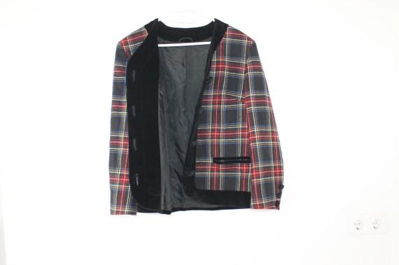 Vintage 80er Jahre roter Wolle Jacke schwarz roten samt Kragen Blazer Winter große abgeschnitten Mantel Größe 10 kariert Grunge rot weiß Boho Grunge