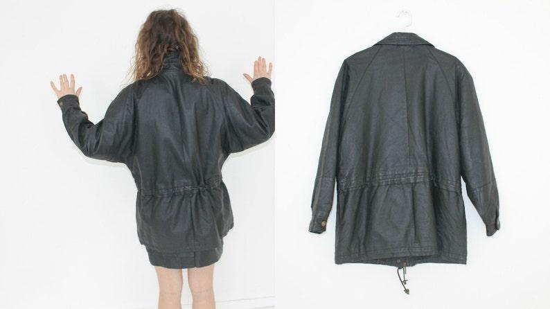 Vintage 80s Black Leather Trench Coat Avant Garde Bat Sleeved Genuine Leather Long Women/'s Jacket Medium to Large BOMBER Distressed Autumn