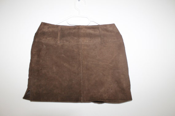XS Small High Waist Vintage Suede Mini Skirt Brown