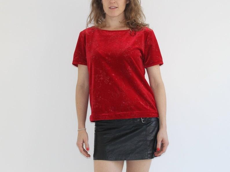 90s Red Velvet Pullover Top Womens Medium Gothic Stretchy Floral Velvet Blouse Short Sleeve Flower Metallic Floral Tank Grunge Blouse Medium