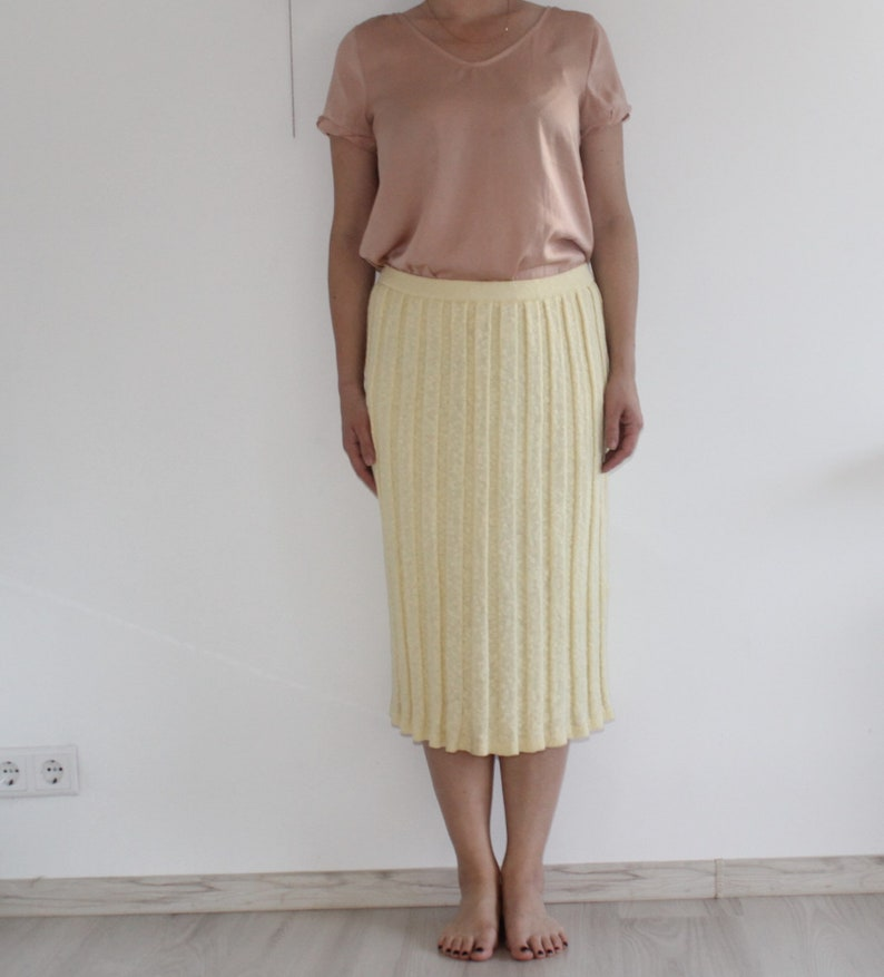 Vintage yellow long cotton knit maxi skirt elastic stretchy tube skirt Large Medium A-line Party Secretary High Waist Straight Girlfriend