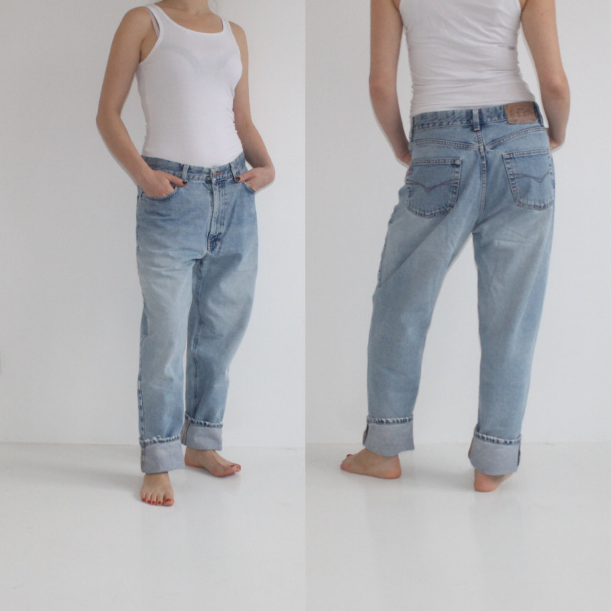 87c133678d Vintage 80s Acid Wash Jeans High Waist Denim Jeans Women Peg Leg Trousers  High Waisted Jeans Hipster ...
