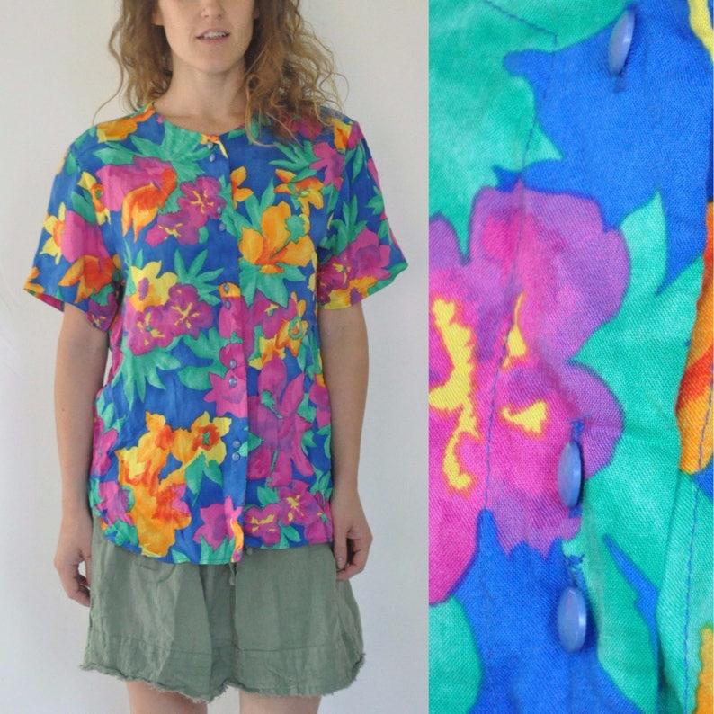 93b72e3b8 80s Jungle Flower Print Shirt Womens Large Nature Botanical | Etsy