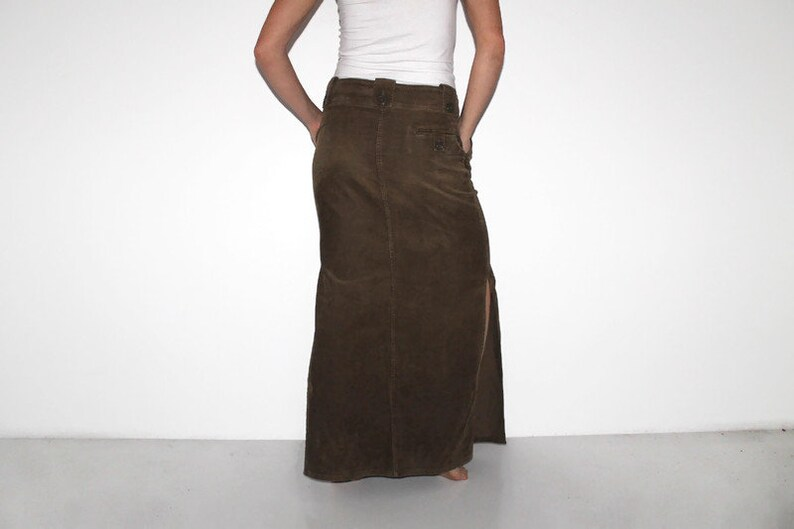 Dark brown Corduroy Skirt with front pocket Maxi Fitted Pencil Large Maxi Midi Tight Skirt High Slit boho floor length faded minimal hippy
