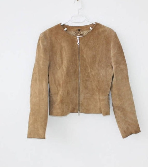 Vintage 80s Caramel Brown Suede Jacket Avant Garde