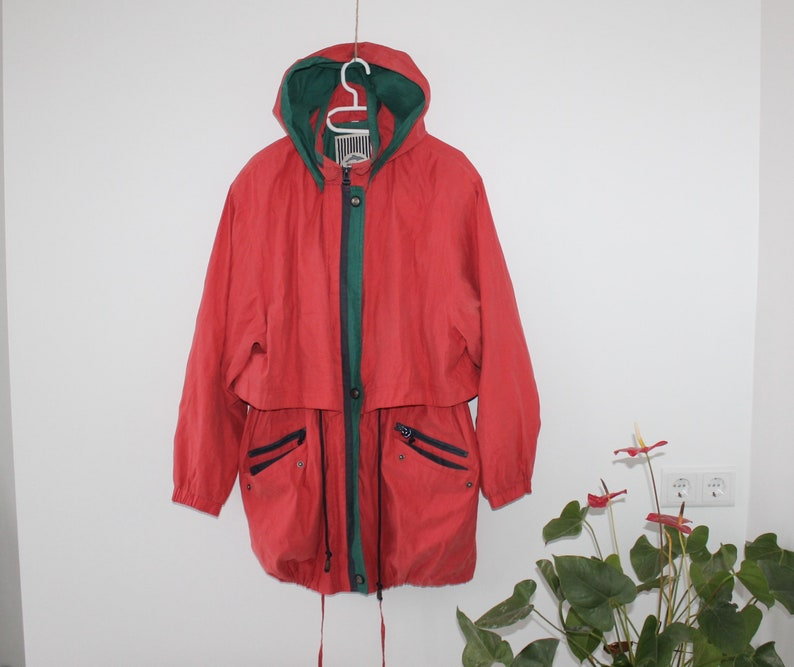 80er Jahre Windbreaker rot grün 90er Jahre Anorak Parka Hoodie Wind Jacke Damen großen Segeln JacketActive Sportswear M L Laufbahn Sport Mantel