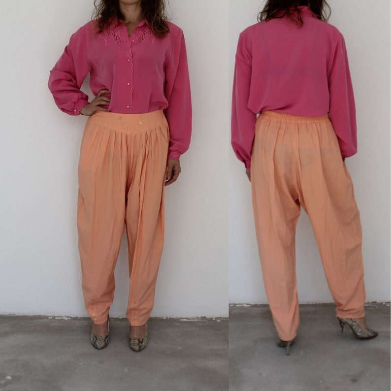 fdb89653e581b Vintage salmon pink Pants 80s Mom Pleated High Waisted Pants tapered Baggy  Light Summer Trousers Medium Peg Leg Loose Fit Large W27 W28 L28