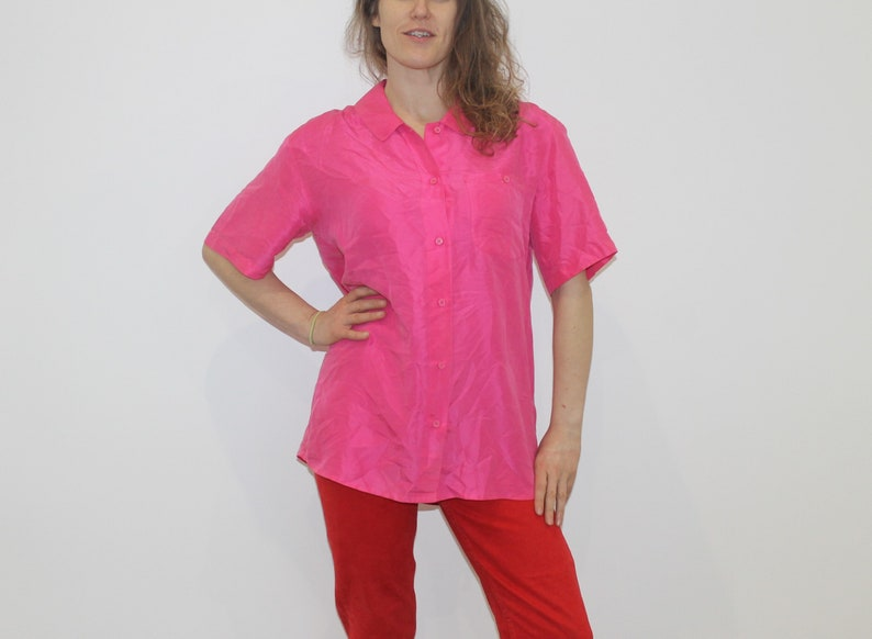 e3a81bdf085 Pink Silk Vintage Shirt 90s Mens Short Sleeve Silk Summer
