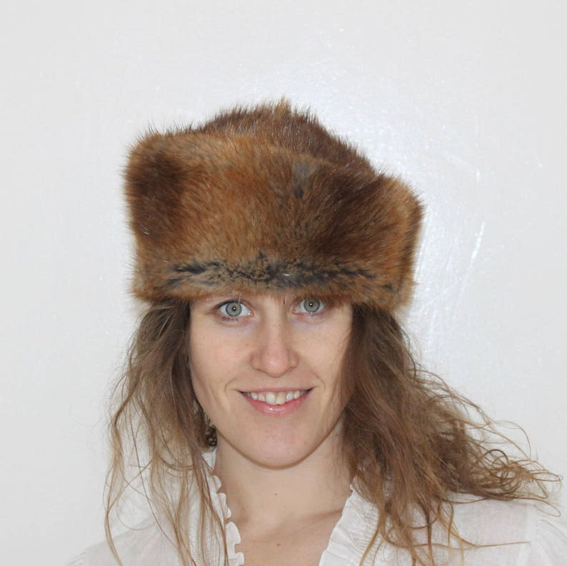 Fur 70s Rabbit Fur Pillbox Hat Brown Hat Natural Rabbit  29f0aa43298d